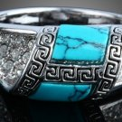 Delicate Turquoise Stone Made Crystal Layer Ring