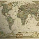 Vintage World Map Home Decoration Detailed Antique Poster