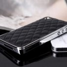 Faux Leather Chrome Hard Back Case Cover Skin IPhone 4 4S 5 5S
