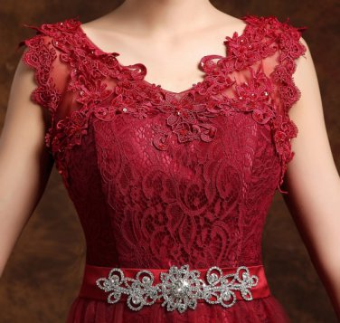 Women Long Beautiful V neck Formal Wine Design Dress/Size Available
