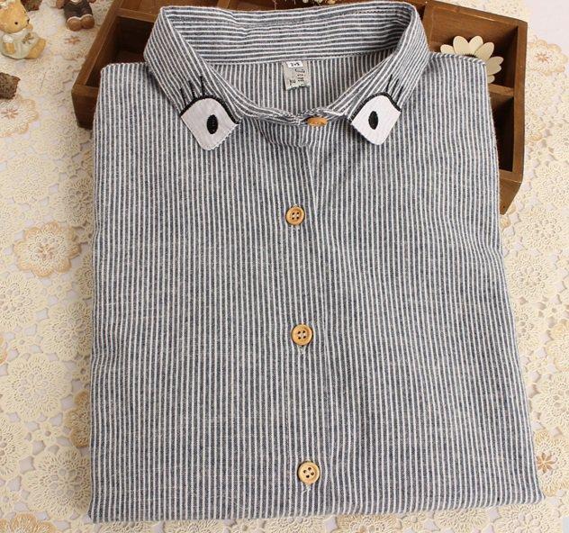 New Harajuku Eyes embroidery women Blouses Shirts