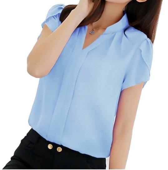 free ship Women Shirt Chiffon Blouse Top 2018