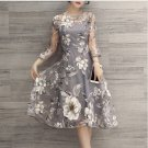free ship Floral A-line Dress Long Sleeve Vintage Dress 2018/Medium/Large