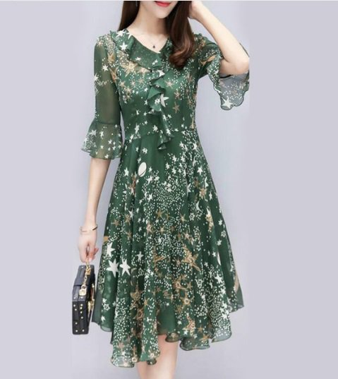 free ship Chiffon Dress Women Half Sleeve 2018/Medium/Large