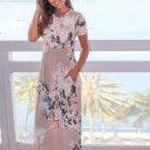 free ship Cute Floral Print O Neck Sun-dress 2018/Medium/Large