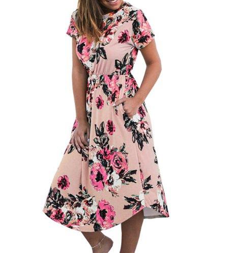free ship Summer Floral Prairie Chic Dress 2018/Medium/Large
