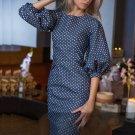 free ship Women Polka Dots Print Dress Casual O-neck 2018/Medium/Large