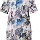 free ship O Neck Short Sleeve Boho Floral Dress 2018/Medium/Large