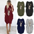 women long sleeve dress  casual knee-length dress  dresses  moose print party vestidos