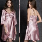 r Silk Dress Womens Tops  Thin Sling Sleepwear Sets Long Sleeve Underwear Women Pijamas Dress