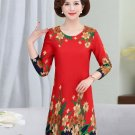 Women Autumn Dresses Red Blue Green Oriental Flower Print One Piece Dress Female Round Collar