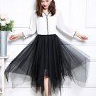 Korean version of the summer mesh pleated skirt long section irregular fluf