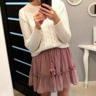 Simplee Casual polka dot mini women skirt High waist A line korean tassel pink