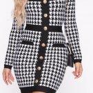 Black houndstooth fashion dress Women christmas plaid mini winter