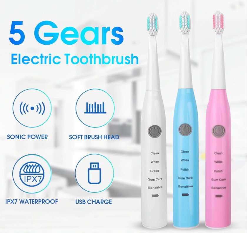 Electric Toothbrush Ultrasonic Vibration Waterproof Rechargeable Oral Hygiene ToothBrush