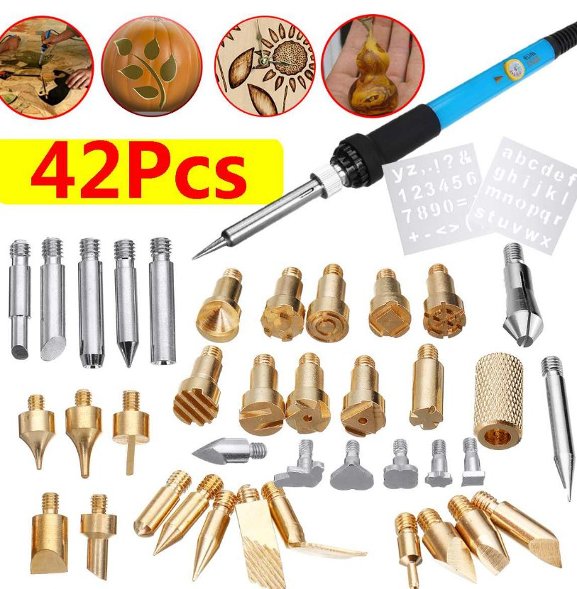 42Pcs Electric Soldering Iron Kit Wood Burning Pen Tip Pyrography Craft Tool Repair for Woodworking