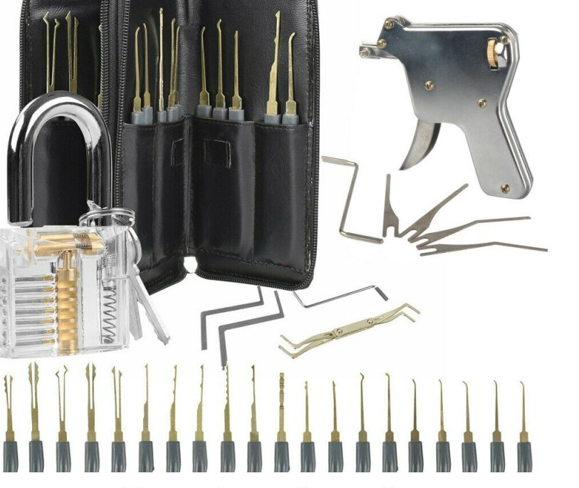 24Pcs Unlock Unlocking Pick Tools Set Key Extractor And Transparent Practice Padlock