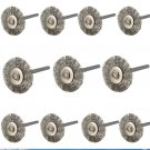 10pcs/set 22mm Stainless Steel Wire Wheel Brush dremel rotary tool for mini drill
