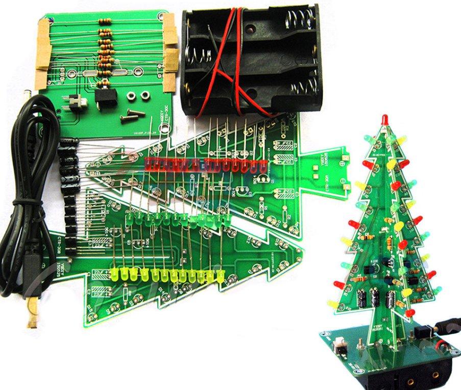 Three-Dimensional 3D Christmas Tree LED DIY Kit Red/Green/Yellow LED