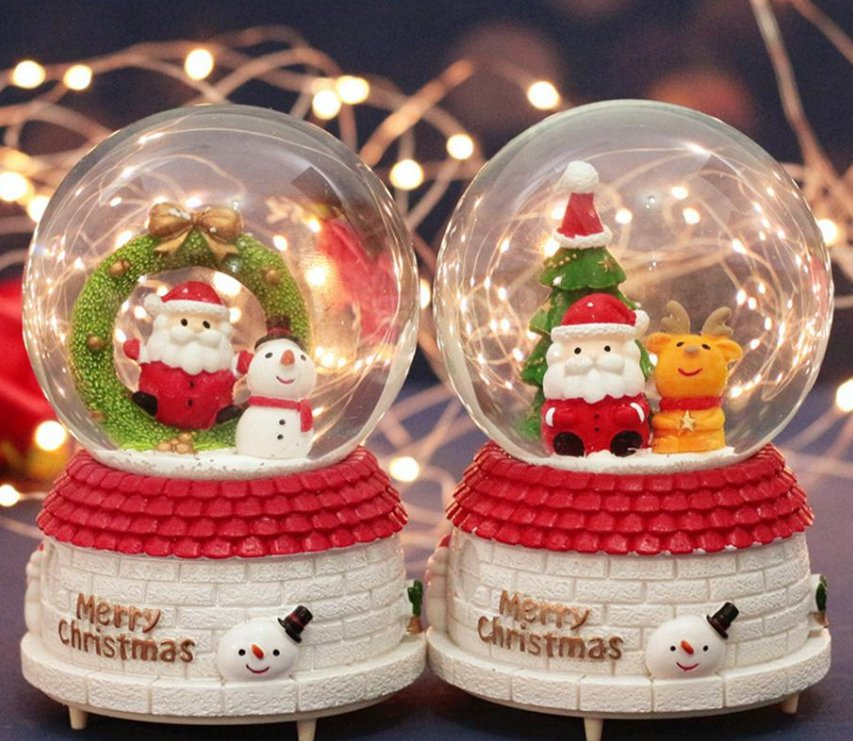 Christmas Crystal Ball Music Box with Light Snowflakes Xmas New Year Birthday