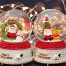 Christmas Crystal Ball Music Box with Light Snowflakes Xmas New Year Birthday