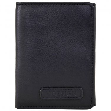 Hidesign Charles Classic Trifold Wallet with ID Compartment Black