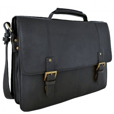"Hidesign Charles Large Double Gusset 17"" Laptop Compatible Briefcase Black"