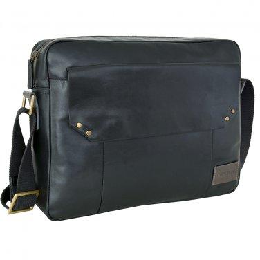 Hidesign Dylan Trendy Unlined Zip Top Work Messenger Bag Black