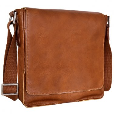 Hidesign Fred Vertical Messenger Bag Tan
