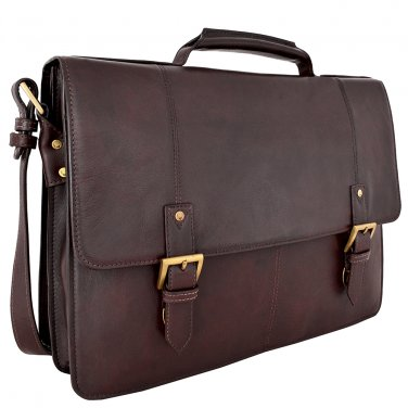 "Hidesign Charles Large Double Gusset 17"" Laptop Compatible Briefcase Brown"