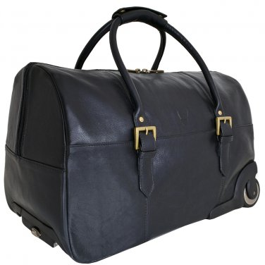 Hidesign Charles Cabin Sized Leather Wheeled Luggage Black