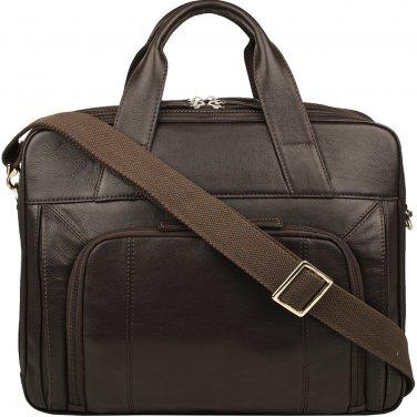 """Hidesign Aldous Ziptop 15"""" Laptop Compatible Leather Work Bag Brown"""