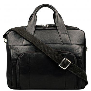 "Hidesign Aldous Ziptop 15"" Laptop Compatible Leather Work Bag Black"