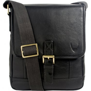 Hidesign Hunter Small Leather Crossbody Messenger Black