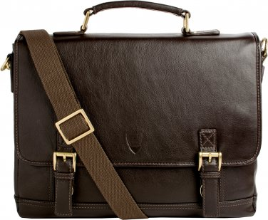"""Hidesign Hunter 15"""" Laptop Compatible Leather Briefcase Brown"""