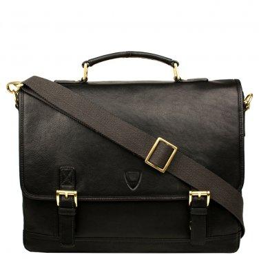 "Hidesign Hunter 15"" Laptop Compatible Leather Briefcase Black"