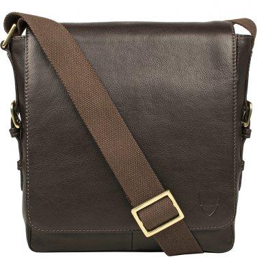 Hidesign William Vertical Leather Messenger Brown