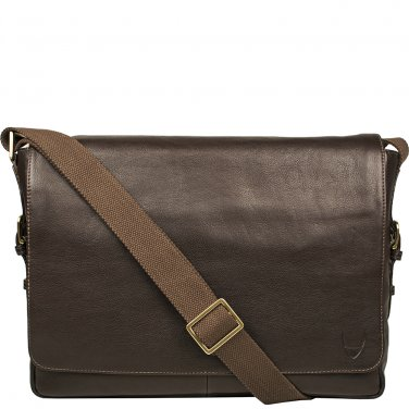 """Hidesign William Horizontal 15"""" Laptop Compatible Leather Messenger Brown"""
