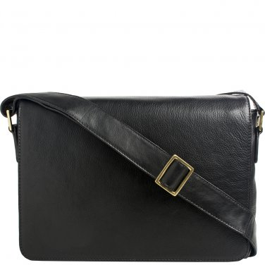 Hidesign Small Rhoden Leather Messenger Black