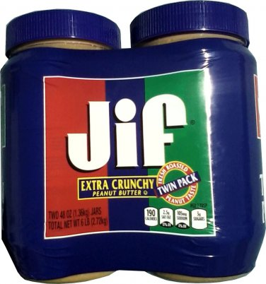NEW LARGE JIF EXTRA CRUNCHY PEANUT BUTTER 2 - 48 OUNCE JARS FREE SHIPPING!