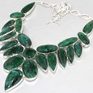 HUGE Faceted Emerald 925 Silver CLUSTER Necklace 47cm Gemstone FREE SHIPPING!