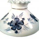 VINTAGE HURRICANE LAMP LANTERN SHADE MILK WHITE GLASS BLUE BLOSSOMS FLOWERS