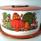 VINTAGE 1970'S STYLE METAL CAKE PAN COVER CARRIER MUSHROOMS DECOR