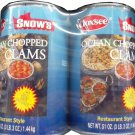 SNOW'S OCEAN CHOPPED CLAMS 6 LBS 6 OZ 2 LARGE CANS 51 OZ EA.FREE SHIPPING!