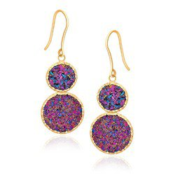 14K Yellow Gold Multicolored Drusy Double Drop Earring FREE SHIPPING!