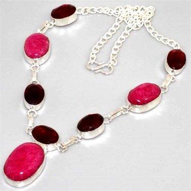 LARGE FANCY Ruby, Garnet, 925 Silver Necklace 44cm Gemstone FREE SHIPPING!