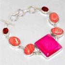 BRILLIANT Pink Lace Onyx, Mosaic Jasper, Pressed Amber, Silver Bracelet 22.6cm