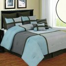 NEW! 8 PIECE Luxury Comforter Set-King Deco- Blue/ Beige/ Brown FREE SHIPPING!