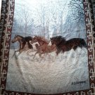 NICE! C.CUMMINGS TAPESTRY WESTERN HANGING BLANKET 4 HORSES FOREST FREE SHIPPING