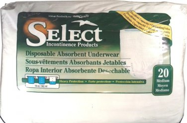 """SELECT BY TRANQUILITY Disposable Underwear Medium 34"""" - 48"""" Waist FREE SHIPPING!"""